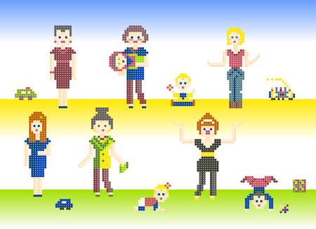 fondo para bebe: Conjunto de caracteres Pixel personas Madres y beb�s lindos. Diferentes p�xeles personajes, mujeres y ni�os con sus juguetes, aislados en fondo claro para los juegos o de punto de cruz