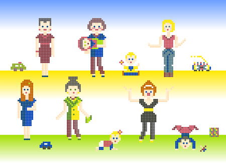 prank: Set of characters pixel people Mothers and cute Babies. Different pixel characters, women and children with their toys, isolated on light background for games or cross-stitch Illustration