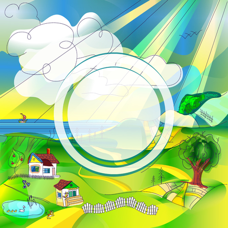 Bright cartoon rural landscape with a round frame for placing a logo or other information