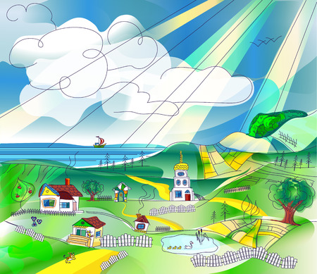 hamlet: Rural landscape with sky, fields, hills, lake and sea. Country landscape background for your design, space for text
