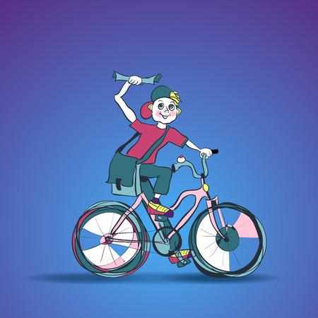 cartero: Un repartidor de noticias tirar papeles de su bicicleta. Publique muchacho en bicicleta. Paseos a cartero en una bicicleta de color rosa con un periódico en la mano levantada. Cartero Boy con una gran bolsa por encima del hombro