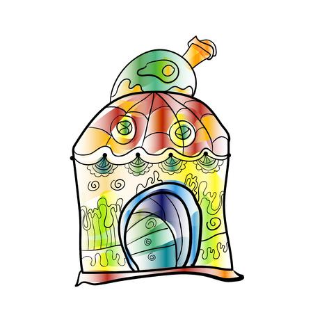 Fantasy house as a cake, cupcake. Cute little house. Fairy little magic play house. Vector illustration simulates watercolor paint Ilustração