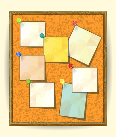 pinned: Cork Notice board with Seven Pinned Stick Notes. Blank colored sheets for notes, pinned ready for your text. Post-it notes with pushpins on textured Cork board, Notice board, School bulletin board
