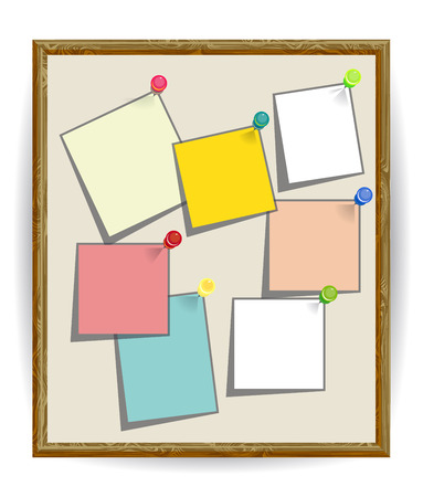 noticeboard: Notice board filled with seven pinned Stick notes. Blank colored sheets for notes, pinned on corkboard, ready for your text. Post-it notes with pushpins on board, Notice board, School bulletin board