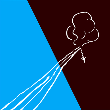 vapor trail: Plane Accident Vector Illustration. Before an after symbol. Airplane vapor trail and flash