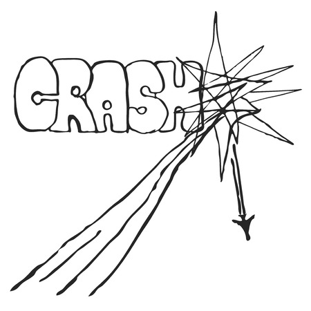 catastrophic: Plane Accident Vector Illustration. Aircraft catastrophic with graffiti style inscription Crash