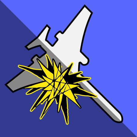 explosion engine: Plane exploding and falling in the air. Explosion turbine. Illustration