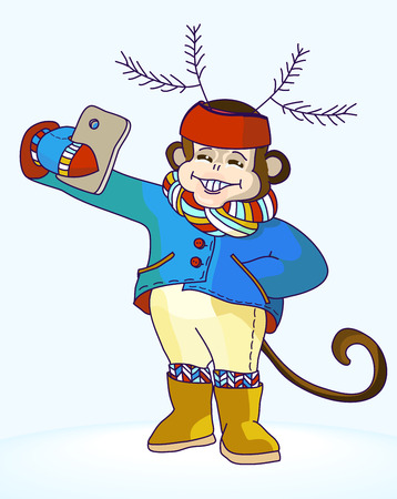 carnival costume: Monkey with deer antlers on his head taking selfie photo on smart phone. Carnival costume as deer antler made of fir branches. Monkey with knitted scarf and leggings taking self-portrait and smiling Illustration