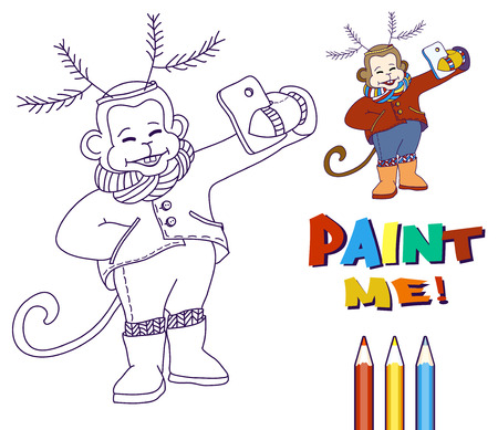 antler: Monkey with deer antlers on his head taking selfie photo on smart phone. Carnival costume as deer antler made of fir branches. Monkey with knitted scarf and leggings taking self-portrait and smiling. Ð'lack and white vector for coloring