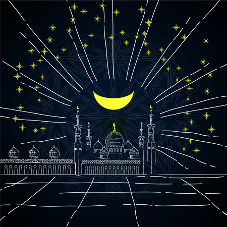 Silhouette of mosque with minarets, stars and Crescent on dark sky background - sketch for Islamic holiday. Concept for celebration for Mawlid birthday of prophet Muhammad, Ramadan Kareem, Eid Mubarak Illustration