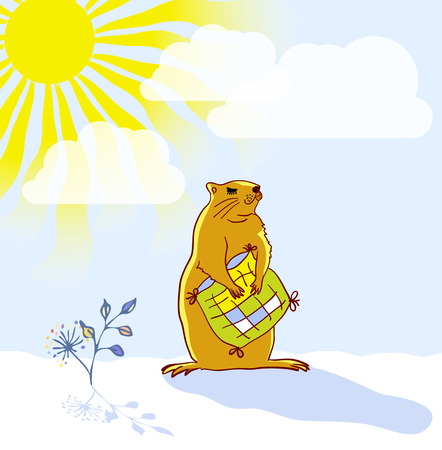 Sleepy Groundhog Marmot hugging a pillow and basking in the sun. Vector illustration for Groundhog day 2 february. Vector sketch for greeting card of groundhog day.