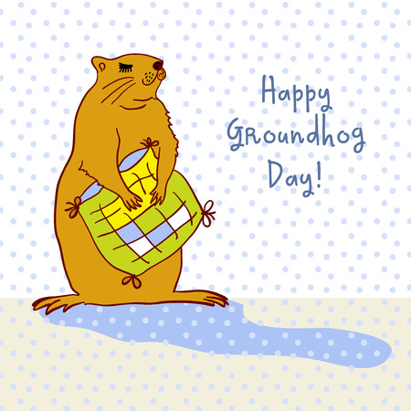 slumberous: Sleepy Groundhog Marmot hugging a pillow. Vector illustration for Groundhog day 2 february. Vector sketch for greeting card of groundhog day. Illustration