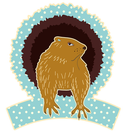 varmint: Sleepy Groundhog Marmot comes out of its hole. Vector illustration for Groundhog day 2 february. Vector sketch for greeting card of groundhog day.