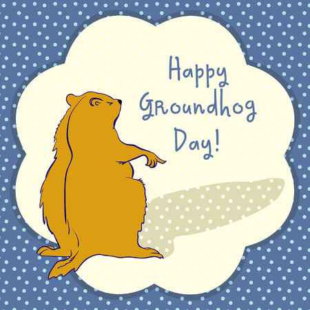 slumberous: Sleepy Groundhog Marmot points to a shadow. Vector illustration for Groundhog day 2 february. Vector sketch for greeting card of groundhog day.