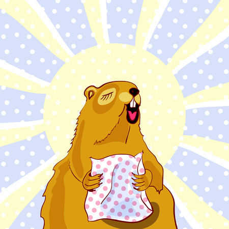 Sleepy Groundhog Marmot yawns and hugging a pillow. Vector illustration for Groundhog day 2 february. Sun and snowflakes on background. Vector for greeting card of groundhog day.