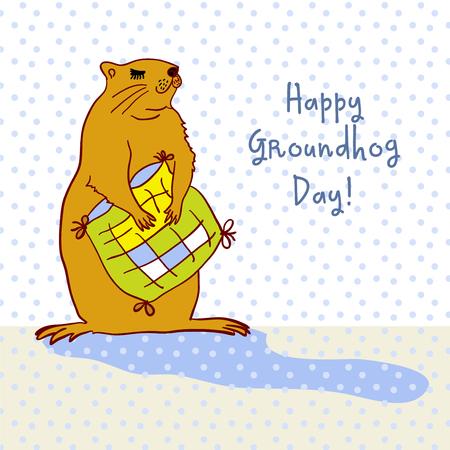 Sleepy Groundhog Marmot hugging a pillow. Vector illustration for Groundhog day 2 february. Vector sketch for greeting card of groundhog day. Illustration