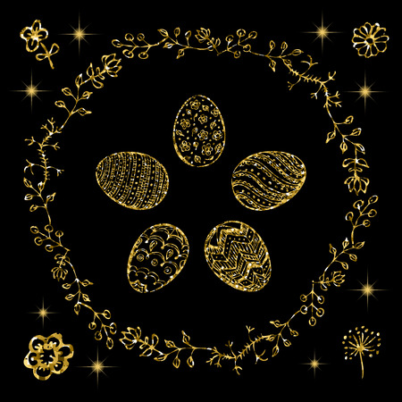 Five different Easter eggs with hand painted ornaments and round blooming vines. Glitter Gold Happy Easter greeting card with spring flowers and eggs. Easter hand drawn elements for your design.