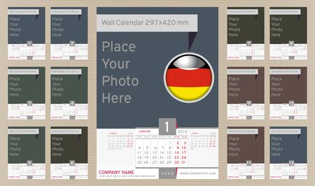 portrait orientation: Wall Monthly Calendar for Year 2016 in German three month in one sheet. Different Color for Season. Holidays not marked. Vector Template Portrait Orientation with Space for Photo. CMYK color space Illustration