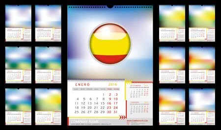 portrait orientation: Wall Monthly Calendar for Year 2016 in Spanish. Different Color for Season. Week starts Monday. Holidays not marked. Vector Template with Space for Photo. Portrait Orientation. Set of 12 Months