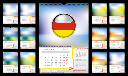 Wall Monthly Calendar for Year 2016 in German. Week starts monday. Holidays are not marked. CMYK Color ready for Press. Vector Print Template with Space for Photo. Portrait Orientation. Set of 12 Months
