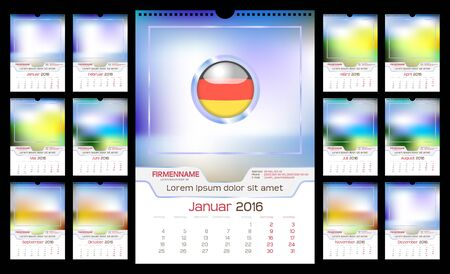 portrait orientation: Wall Monthly Calendar for Year 2016. German language. Different Color for Season. Week starts Monday. Holidays are not marked. Vector Template with Space for Photo. Portrait Orientation. Set of 12 Months Illustration