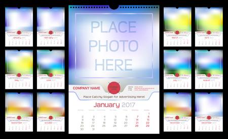 kalendarz: Ściana miesięczny kalendarz na rok 2017. innym kolorem dla sezonu. Tydzień zaczyna się w poniedziałek. Wakacje nie są oznakowane. Szablon wektora z miejsca dla fotografii. Portret Orientacja. Zestaw 12 miesięcy Ilustracja