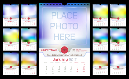 Calendario de pared mensual para el año 2017. color diferente para la temporada. La semana empieza el lunes. Las vacaciones no están marcados. Plantilla de vectores con el espacio para la foto. Orientación Vertical. Conjunto de 12 Meses