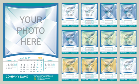 Wall Monthly Calendar for Year 2016. Week starts monday. Holidays are not marked. CMYK Color ready for Press. Vector Print Template with Space for Photo. Portrait Orientation. Set of 12 Months