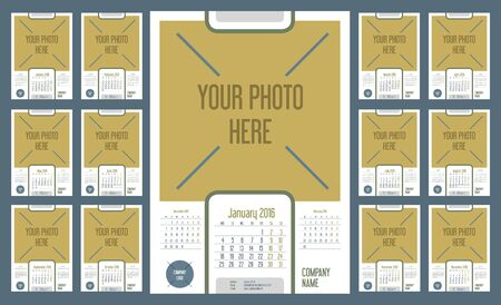not ready: Wall Monthly Calendar for Year 2016. Week starts monday. Holidays are not marked. CMYK Color ready for Press. Vector Print Template with Space for Photo. Portrait Orientation. Set of 12 Months