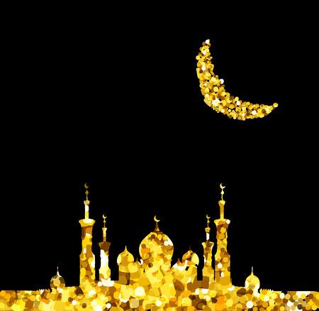 Glitter gold Silhouette of mosque with minarets and moon Crescent. Concept for Islamic Muslim holidays Mawlid birthday prophet Muhammad, holy month Ramadan Kareem, Eid Mubarak, Fatima bint Muhammad Illustration