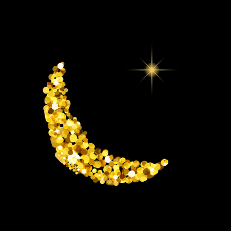 sacramental: Glitter gold Silhouette of moon Crescent and Star. Islamic Muslim Symbol - Star and Crescent for Muslim holiday Mawlid birthday of prophet Muhammad, Ramadan Kareem, Eid Mubarak, Newroz, Laylat, Ashura