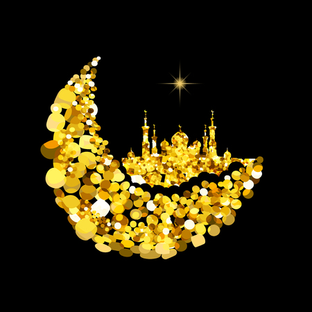 gold silhouette: Glitter gold Silhouette of mosque with minarets on moon Crescent. Concept for Islamic Muslim holidays Mawlid birthday prophet Muhammad, holy month Ramadan Kareem, Eid Mubarak, Fatima bint Muhammad