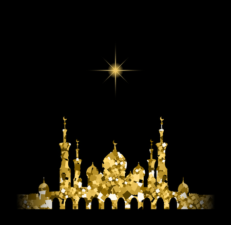 gold silhouette: Glitter gold Silhouette of mosque with minarets and moon Crescent. Concept for Islamic Muslim holidays Mawlid birthday prophet Muhammad, holy month Ramadan Kareem, Eid Mubarak, Fatima bint Muhammad Illustration