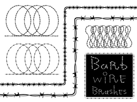 rope barrier: Barb wire (barbed wire) set - brush in Swatch. Barb wire strokes - isolated black silhouette on white background. Protection concept design.