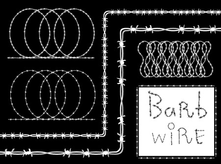 Barb wire (barbed wire) border set - white silhouette on black background, vector. Barbed wire brush pattern. Vector fence illustration isolated on black. Protection concept design
