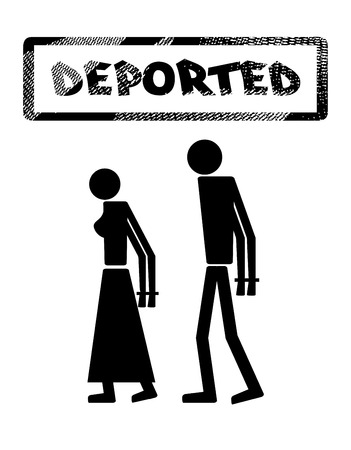 lawbreaker: Abstract silhouette icon of man and woman. Man and woman handcuffed. Symbol deportation, deprivation of freedom of movement, exile. The print, stamp deported Illustration