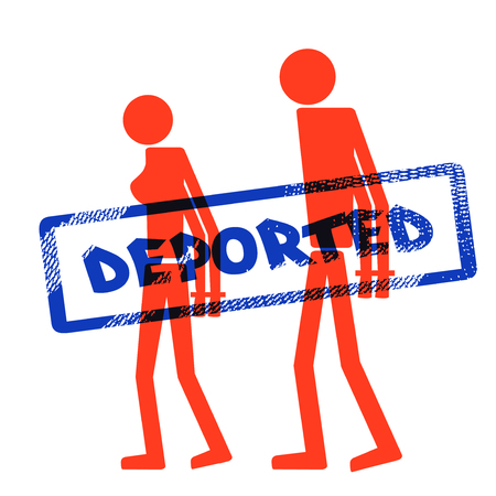 illegally: Abstract silhouette icon of man and woman. Man and woman handcuffed. Symbol deportation, deprivation of freedom of movement, exile. The print, stamp deported Illustration