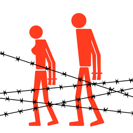 deprivation: Abstract silhouette icon of man and woman. Man and woman are handcuffed behind barbed wire. Symbol deportation, deprivation of freedom of movement, exile.