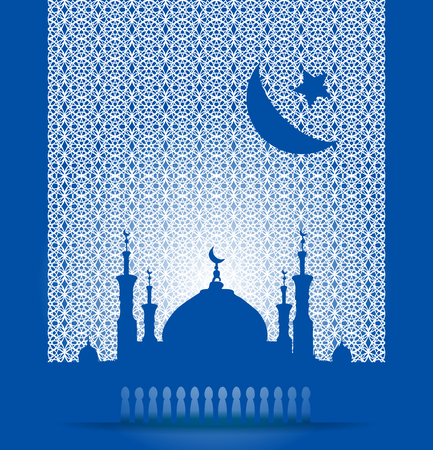 birthday religious: Silhouette of mosque with minarets and moon Crescent. Concept for Islamic Muslim holiday for celebration holy month of Ramadan Kareem, Eid Mubarak, Mawlid birthday of prophet Muhammad Illustration