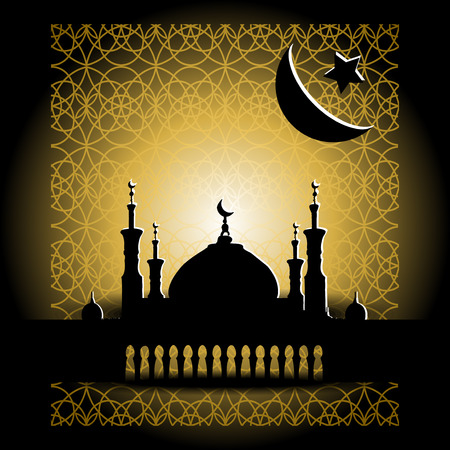 minarets: Silhouette of mosque with minarets and moon Crescent. Concept for Islamic Muslim holiday for celebration holy month of Ramadan Kareem, Eid Mubarak, Mawlid birthday of prophet Muhammad Illustration