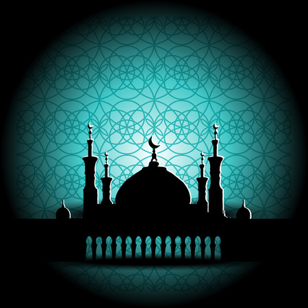 observance: Silhouette of Mosque with Minarets and Arabic ornament. Concept for Islamic Muslim holiday for celebration holy month of Ramadan Kareem, Eid Mubarak, Mawlid birthday of prophet Muhammad