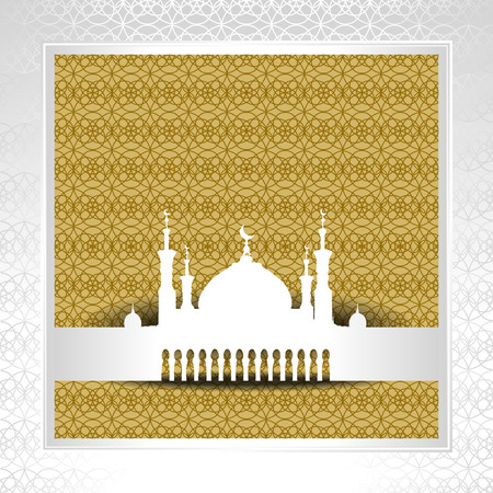 sacramental: Silhouette of Mosque with Minarets and Arabic ornament. Concept for Islamic Muslim holiday for celebration holy month of Ramadan Kareem, Eid Mubarak, Mawlid birthday of prophet Muhammad