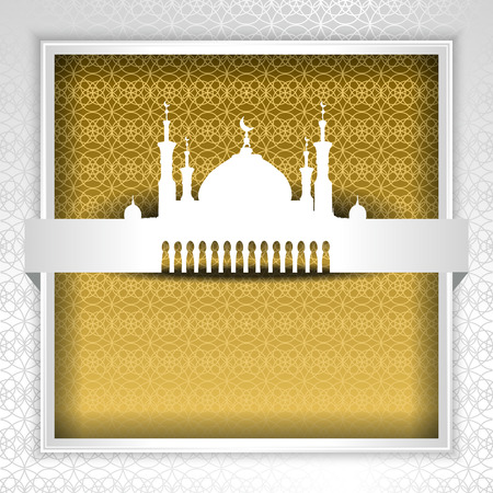 Silhouette of Mosque with Minarets and Arabic ornament. Concept for Islamic Muslim holiday for celebration holy month of Ramadan Kareem, Eid Mubarak, Mawlid birthday of prophet Muhammad
