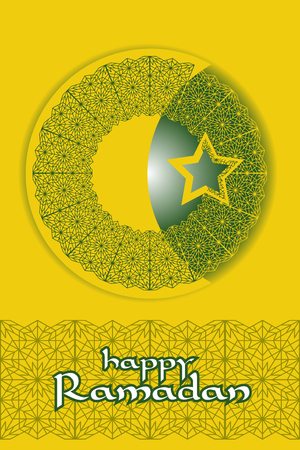 mohammad: Islamic background for Ramadan. Crescent moon and star icon with arabic style pattern. Illustration