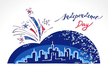 megapolis: Skyline and Fireworks over night megapolis city for Independence Day - hand drawn greeting card for 4th of July.