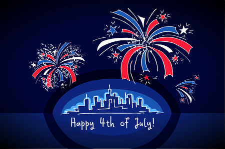 megapolis: Skyline and Fireworks during Independence Day - hand drawn greeting card for 4th of July. Fireworks over night megapolis city. Illustration