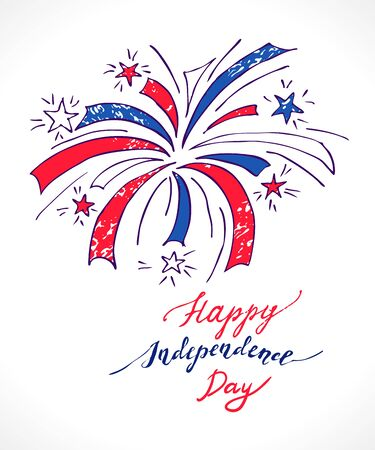 holiday celebrations: Fireworks in national flag colors for American Independence Day celebrations. Vector holiday firework for fourth of july.