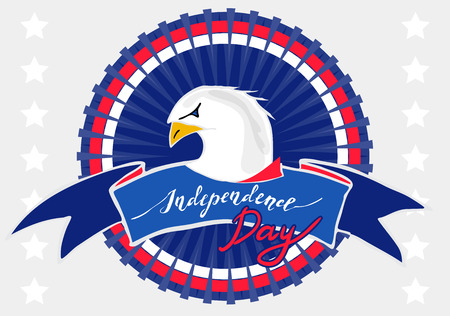 hollidays: American eagle for Independence Day. Patriotic symbol USA flag colors with a bald eagle for nation american hollidays