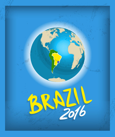 recollection: Brazil flag with grunge texture. Vector Shabby background in the colors of the Brazilian flag