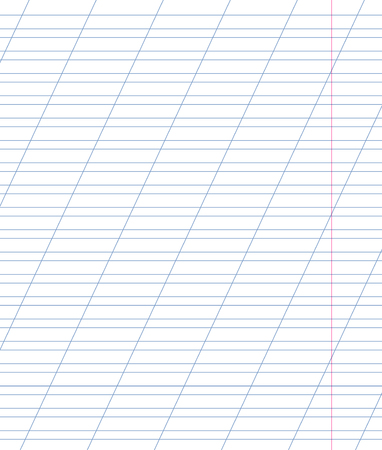 margin: Blank lined notebook with lines, oblique diagonal lines and red margin. Double Exercise page for calligraphy. Illustration